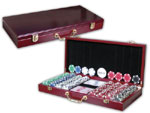 Beautiful Wooden Case Casino  Poker Chip Set