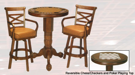 Flip Pub Table with 2 matching chairs Honey Finish Multi functional, beautifully finished, space saving party centers Poker Chess.