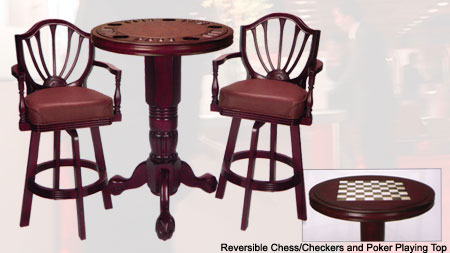 Flip Pub Table with 2 matching chairs Mahogany Finish Multi functional, beautifully finished, space saving party centers Poker Chess.