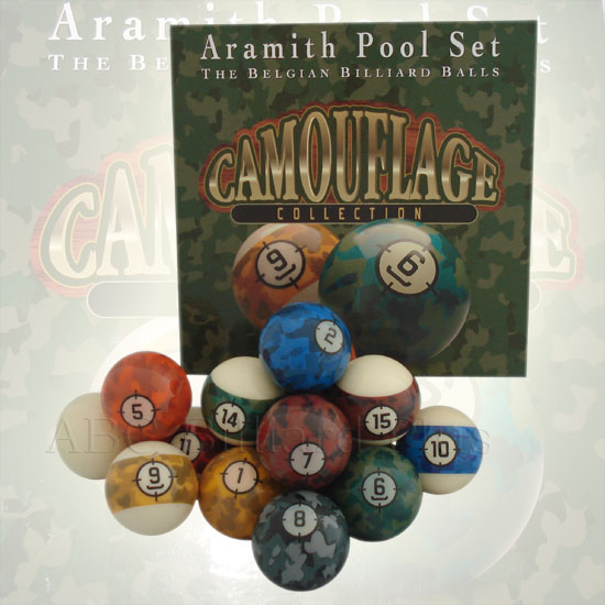 camouflage aramith belgian pool balls, billiard balls