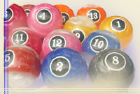 Pool balls, billiard balls, snooker balls