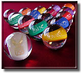 clear billiard balls