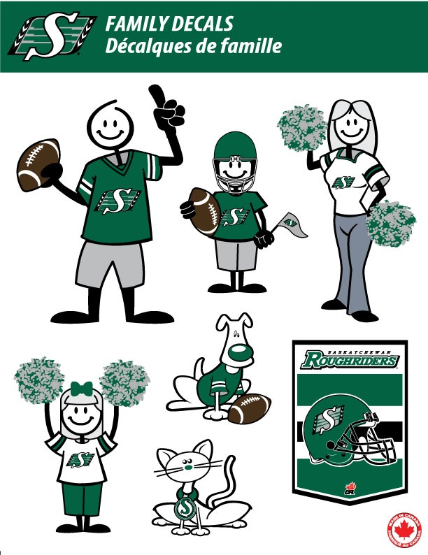 SASKATCHEWAN ROUGHRIDERS STICK PEOPLE FAMILY DECALS FULL COLOR - Family car sticker decalsfamily car decals ebay